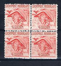xxx NED. Luchtpost NVPH nr. 7 (4x), blok v.4,  1/2 Gld. Mercuruis. C.w. € 20,--+