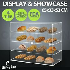 New 4-Tier Large Acrylic Bakery Cake Display Cabinet Donuts Cupcake Pastries 5mm