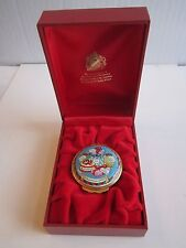 1995 HALCYON DAYS ENAMEL CHRISTMAS BOX - IN THE BOX WITH CERTIFICATE - MINT COND