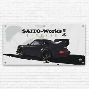 Porsche 911 RWB 'Akira Nakai' JDM Workshop Garage Banner Wall Poster