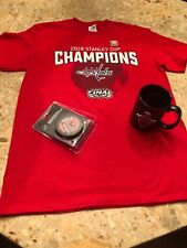 NHL Washington Capitals 2018 STANLEY CUP Champions S/S T-shirt M, cup and puck