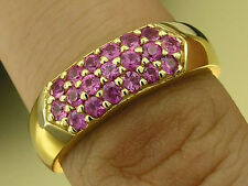 R151 Genuine 18K 18ct SOLID Yellow Gold NATURAL Pink Sapphire Pave Ring size 7