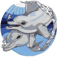 Dolphin Swim Beauty New Pattern Embroidered Set Of 2 Bathroom Towels By Laura