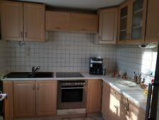 Küche , L-Form mit Geräten, Holzoptik Buche Hell Einbauküche Offen Grill Ceranfl