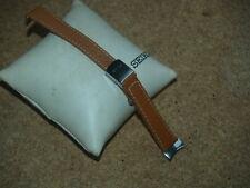 Seiko 14mm Reloj Correa De Cuero Tostado B con hebilla de despliegue