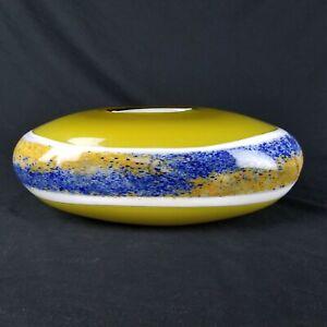 Viz Glass Studios Vase Genuine Hand Blown Art Glass Heavy Yellow Blue Striped