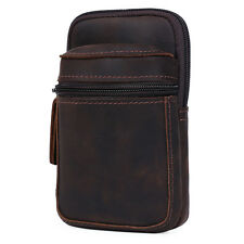 Mens distressed Genuine leather waist bag small pouch belt bag for iphone 6 plus