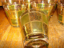 7 Double Old Fashioned Glasses Prado-Green by Culver 22K Gold Design Mid-Century