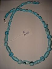 """MANGLEY JEWELLERY Wooden bead necklace blue 29"""" *NEW*"""