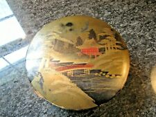 VINTAGE Japanese Lacquer Ware PAPER ROUND BEAUTIFUL BOX LIDDED HANDMADE