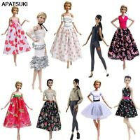 Fashion Doll Clothes For Barbie Doll Outfits Floral Party Dress Gown Skirt 1/6