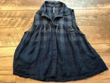 FREE PEOPLE Blue Plaid Sleeveless Button Down Shirt Tank Top Blouse womens Small