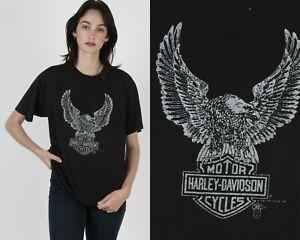 Vtg 80s Harley Davidson Motorcycle Bikers Eagle Shield Black Holoubek T Shirt