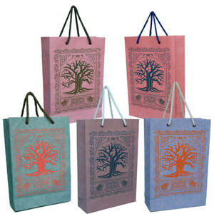 Colorful Handmade Paper Bags with Celtic Tree Design, Eco-Friendly (Pack of 100)