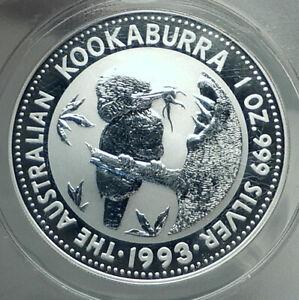 1993 AUSTRALIA Silver Dollar Kookaburra Bird Australian 1oz Coin ANACS i79227