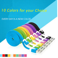 Flat Android phone Sync Data Cable Noodle Micro USB Charger Cord 10 Color 1/2M