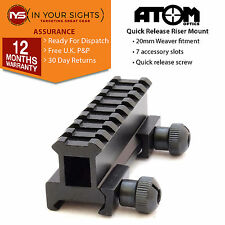 Quick release 8 slot 20mm weaver rail riser mount / Rifle scope riser mount