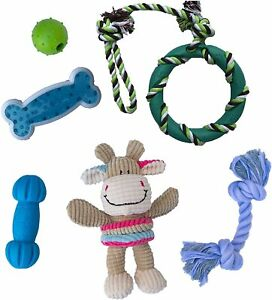PUPPY DOG TOYS, ROPE FOR TEETHING, CHEW TUG TOY SET, WASHABLE COTTON (6 PACK)