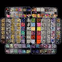 Various 3D Nail Art Rhinestones Diamonds Gems Jewelry Rivet Mixed Decoration