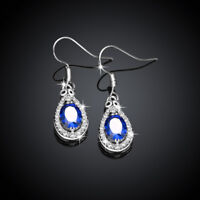 Classic 18K White Gold Filled Blue Cubic Zirconia Crystal Tear Drop Dangly Earri