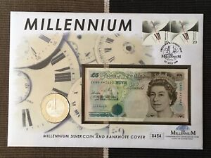 1999 Millennium SILVER PROOF £5 coin and banknote set sealed