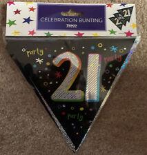 21st Happy Birthday Bunting *Celebration *12 Flags *4m *Black//Silver *Brand New