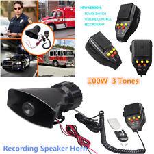 3-Tones Car Auto Boat Recording Speaker Siren Horn + Mic PA Speaker Systems 100W