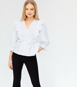 New Look White Poplin Frill Wrap Blouse - Size 10 UK - New With Tags