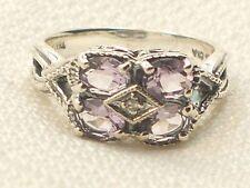 Estate Vintage Sterling Silver CNA Signed Amethyst Diamond Filigree Ring