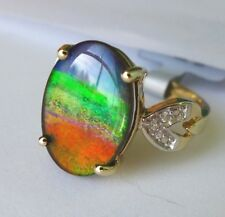 Ammolite (14 x 10)mm 10K Gold Ring, Size 6, Certificate