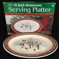 "VTG Oval Serving Platter 14"" by Royal Seasons Stoneware Snowmen RN2 Christmas"