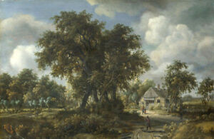 Oil painting Meindert Hobbema - A Woody Landscape with farmer's house on canvas