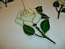 More details for stained glass handmade ivory iridescent single rose window decoration's