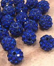 25pcs 10mm BLUE micro pave disco crystal shamballa beads bracelet spacer Beads
