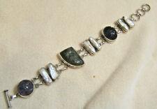 Solid Sterling Silver Carved Amethyst Labradorite Stick Pearl Bracelet 7.25-8.25
