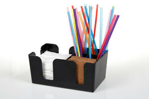 Bar Caddy Bar Tidy Organiser for Straws and Cocktail Napkin Holder Black Plastic