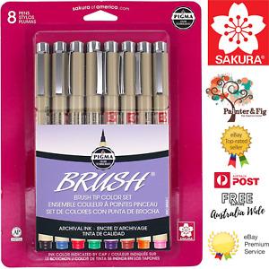 Genuine Sakura Pigma Micron Brush Tip Set of Drawing Pens  -  8 Colours