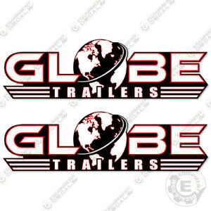 Set of 2 Lowboy Trailer Replacement Decals Globe Trailers Decal Kit