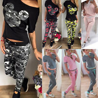 2Pcs Women Tracksuit T-Shirt Top Long Pants Set Sports Jogging Casual Sweat Suit