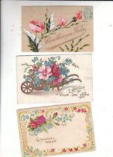 lot 3 cartes gaufrées bouquets de fleurs. 1905 environ