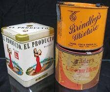 Lot of 3~1950's Tobacco Tins~El Producto Brindley's Mixture Fader's