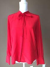 $110 NWT J Crew Tie Neck Silk Blouse, Dark Poppy - Size 6