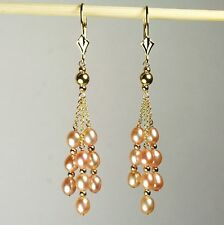 14k solid yellow gold natural  freshwater Rose Pearl gorgeous earrings leverback
