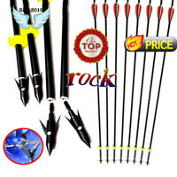 "6x 33""Fiberglass Shaft Bow Fishing Arrows Archery for Compound Recurve Bow Shoot"