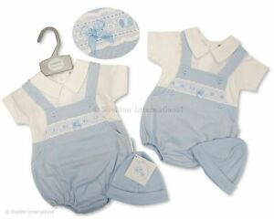 Baby boys Spanish style dungaree and hat set Newborn 0-6 months