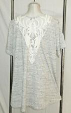 Avenue Knit Top Tunic 18/20 1X Gray Lace & Net Sheer Upper Back Hi-Lo Hem Shirt