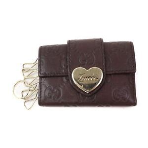Gucci Key Case pretty Dark Brown Leather 2402874