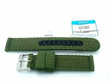 SEIKO GENUINE OLIVE 20MM NYLON BAND/STRAP- 4KC9JZ- PAIR OF S200BS SPRING BARS