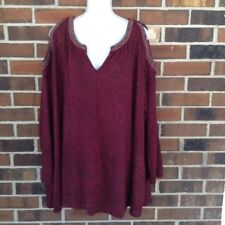 NWT Woman's 3X Flowy Cold Shoulder Knit Top Beaded Embroidery Burgundy Marbled