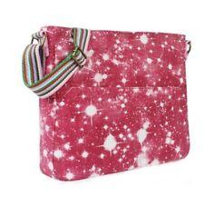 Pink Universe Galaxy Canvas Messenger Bag